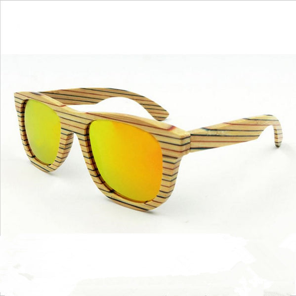 Light Bamboo Colorful Retro-Striped Sunglasses