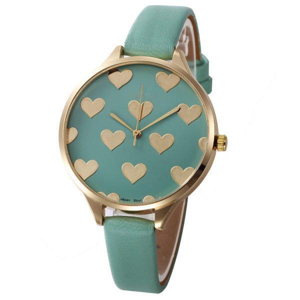 Fashion Love Heart Watches Women PU Leather Strap Geneva