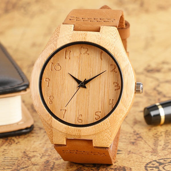 Natural Bamboo Quartz Watch and Genuine Leather Band For Women