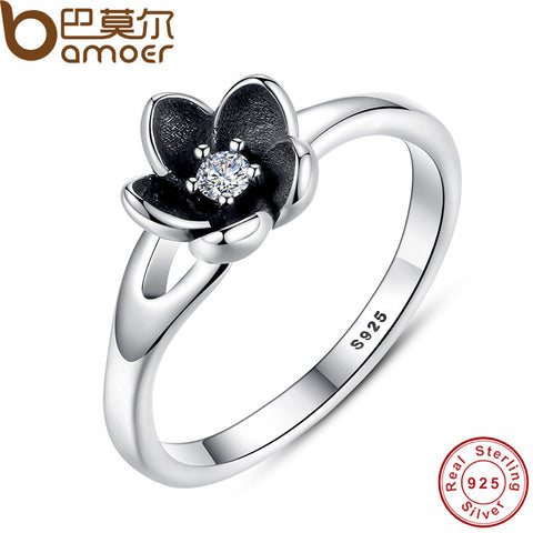 BAMOER New Collection Authentic Mystic Floral Flower Ring