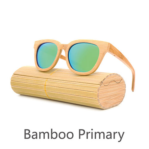 Glass Bamboo Sunglasses au Retro Vintage Lens Wooden Frame
