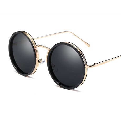 New Metal Personality Round Retro Sunglasses Women