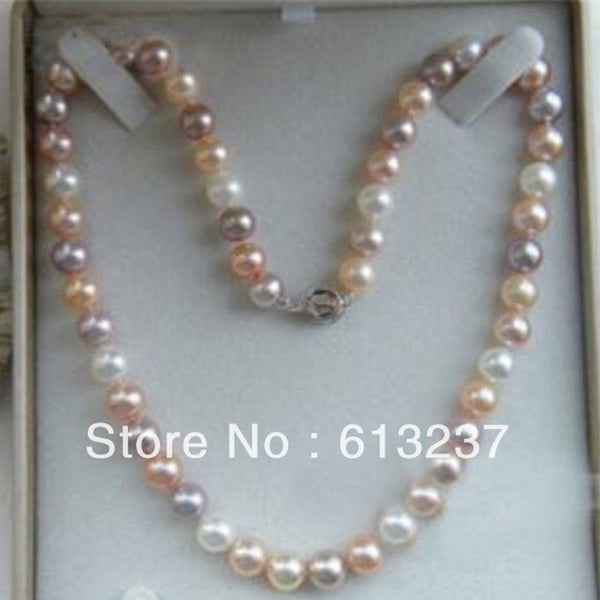 Charming Multicolor Freshwater 7-8mm Natural Pearl Beads diy Necklace