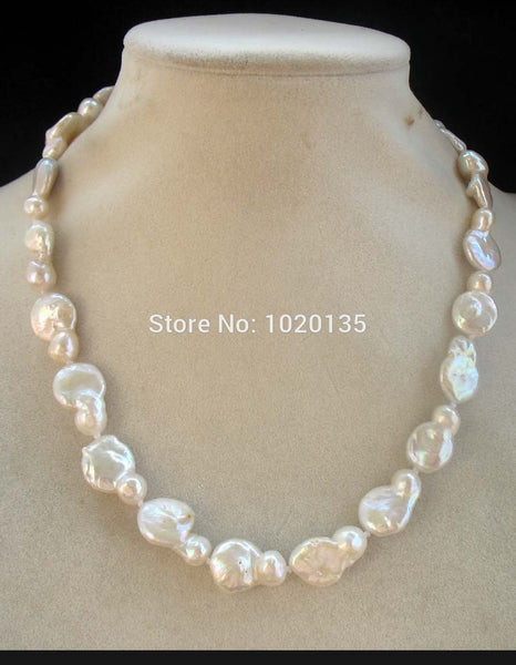Freshwater Pearl  White Unique Baroque Flat  Necklace 17inch Natural