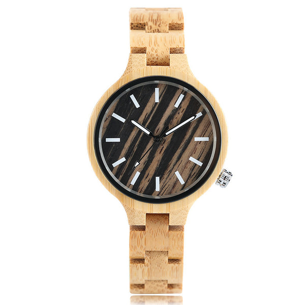 Fashionable Women Bamboo Strap Light Sports Watch
