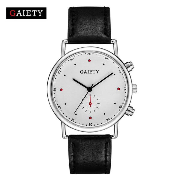 GAIETY Brand Fashion Silver Simple Leather Dress Quartz Watches