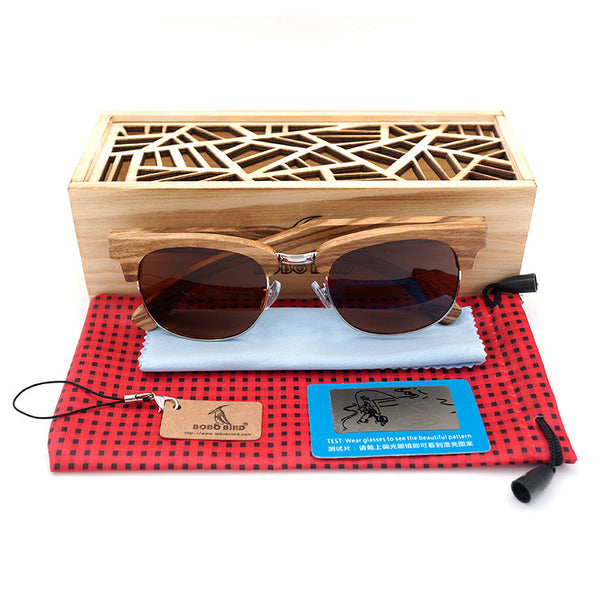 Semi Enclosure Design Zebra Wood Sunglasses Stripe Of The Luxury Brand Men