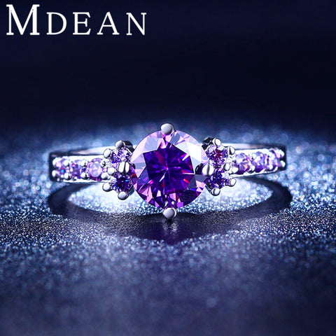 MDEAN White Gold Plated Purple Amethyst Ring CZ Diamond Jewelry