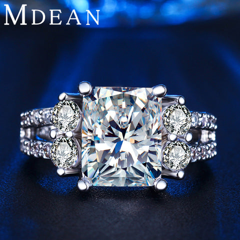MDEAN White Gold Plated CZ Diamond Ring