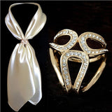Vintage Gold Silver Brooch Silk Scarf Buckle Hollow & Rhinestones