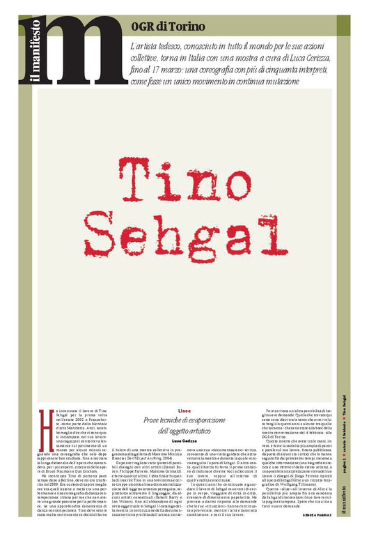 Speciale Tino Sehgal