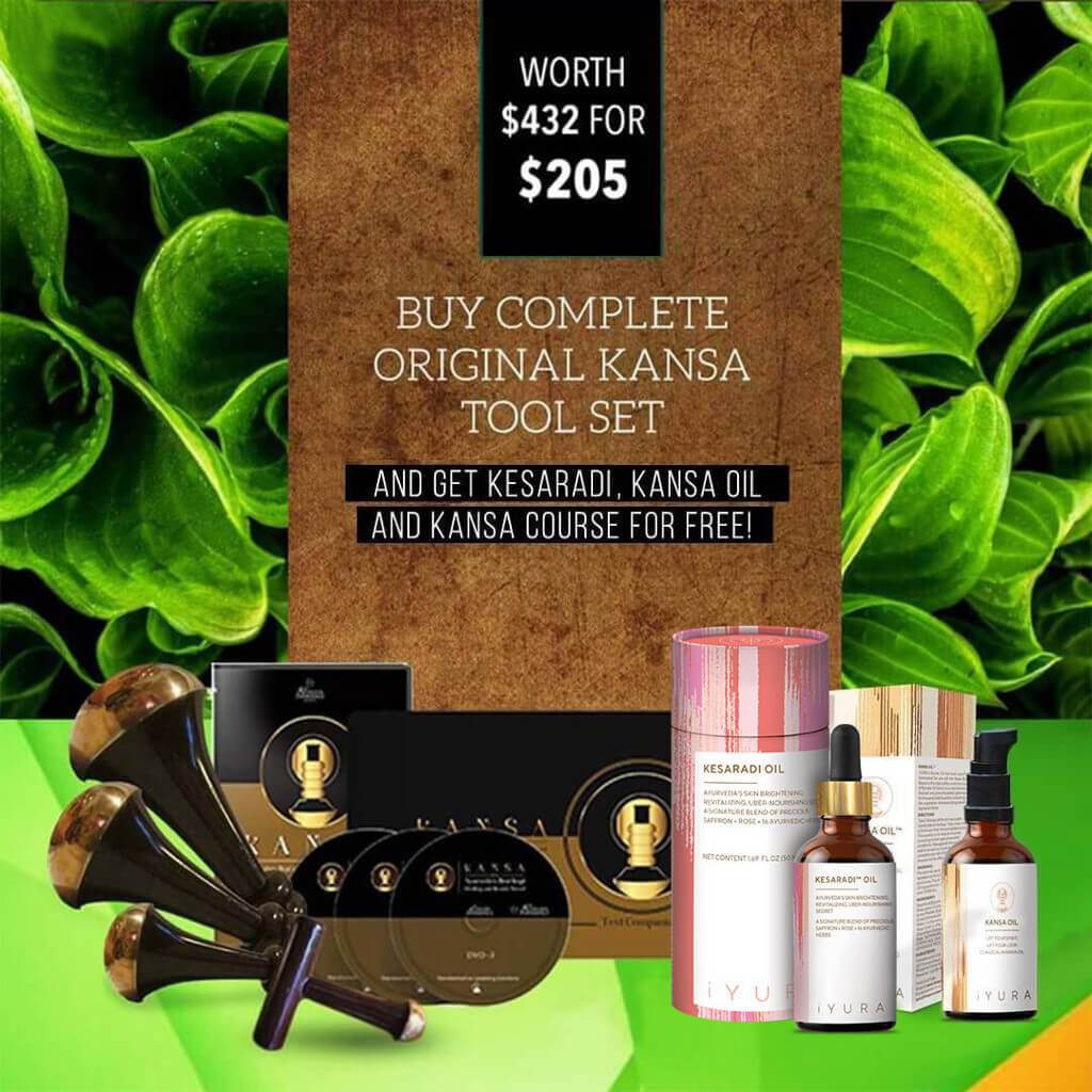 All-Things-Kansa Set: 4 Original Kansa Wands + FREE Kesaradi Face Oil + FREE Kansa Oil for Face & Body + FREE Kansa Course Experience Ayurveda