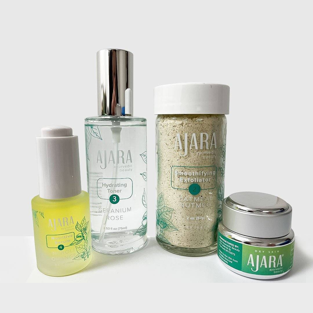 Daily Face Care Kit for Mature or Dry Skin Without Coconut Rose Softening Wash Facial Kit Ajara