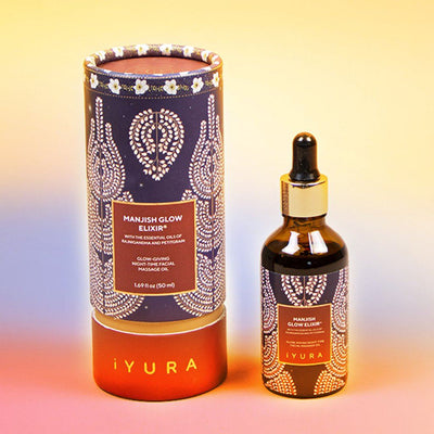 Manjish Glow Elixir Aromatic - With Added Essential Oils of Petitgrain and Rajnigandha Night-time face oil iYURA