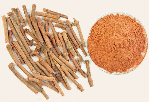 The wondrous herb 'Manjishtha' or Indian Madder - that lends this oil its lovely color and potency.  Shown here are its stems, solid and powdered.