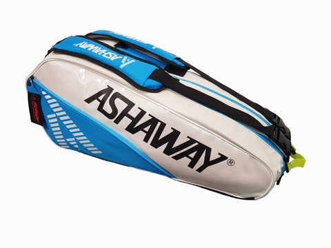 Ashaway Triple Slimline Racket Bag - White/Sky Blue - FluxSports.co.uk