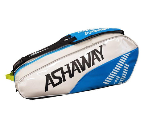 Ashaway Triple Racket Bag - White/Sky Blue