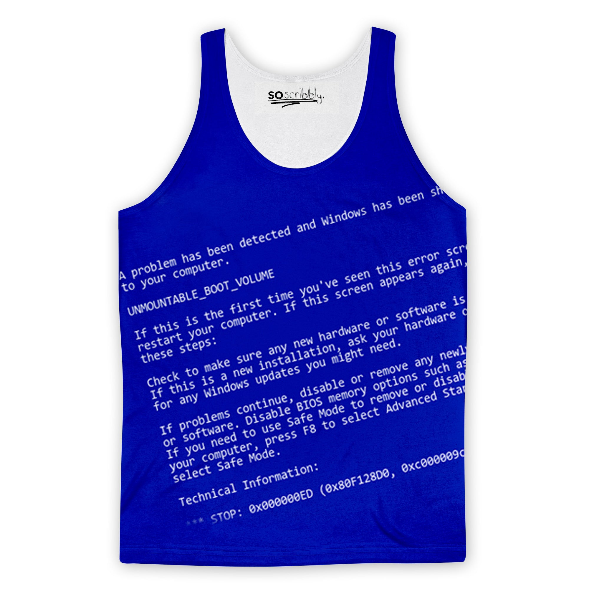 Blue Screen Of Death Tank Top