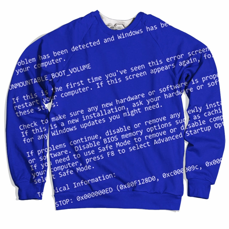 Blue Screen Of Death Sweater