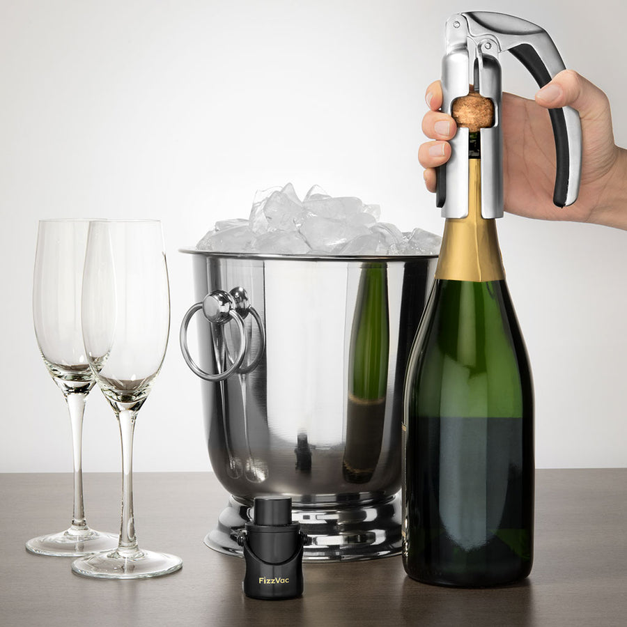 FizzVac Champagne Opener, Satin Nickel Finish