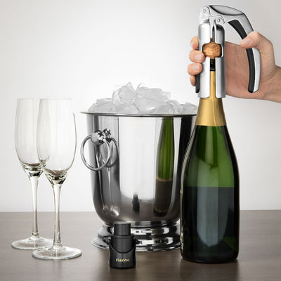 FizzVac Champagne Opener and 2 Stopper Set