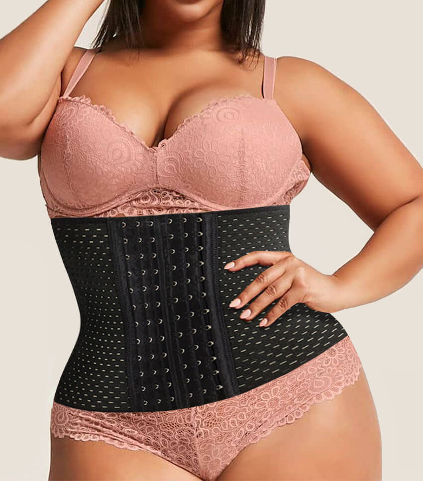 AmazingCorset Voted Best Waist Trainer - Top Rated Best Waist Trainer For Women For Weight Loss - Black Front With Plus Size Model amp-hide