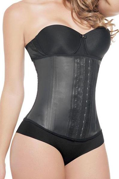 Extreme Waist Trainer - Latex Waist Trainer 2 Hook - Black - Front Zoom