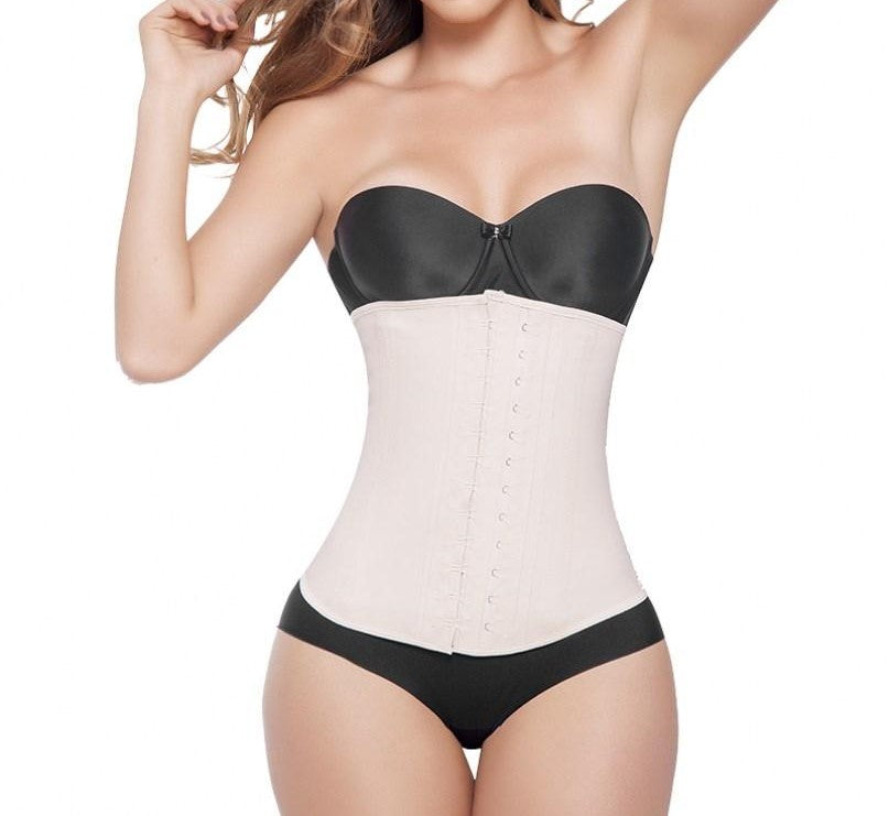 Extreme Waist Trainer - Latex Waist Trainer 2 Hook - Nude - Front Model