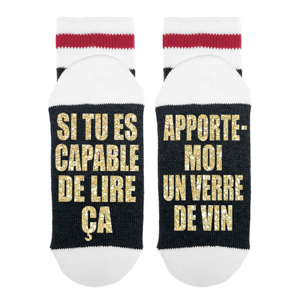 F-077 Si Tu Es Capable De Lire Ça - Apporte-moi Un Verre De Vin - Sock Dirty To Me