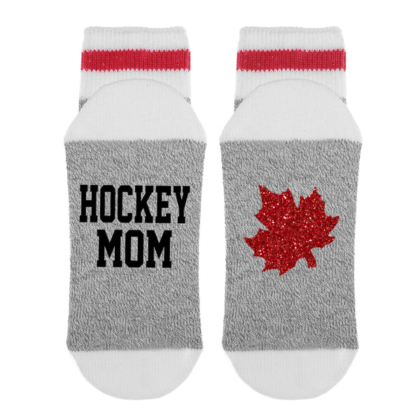 Hockey Mom Canadian Maple Leaf Lumberjack Socks - Sock Dirty To Me