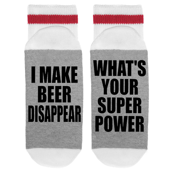 I Make Beer Disappear - What's Your Super Power Lumberjack Socks - Sock Dirty To Me