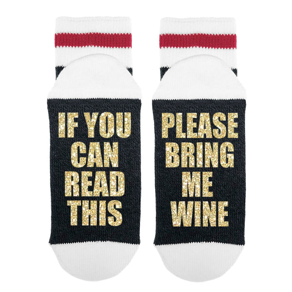 If You Can Read This Please Bring Me Wine Lumberjack Socks - Sock Dirty To Me