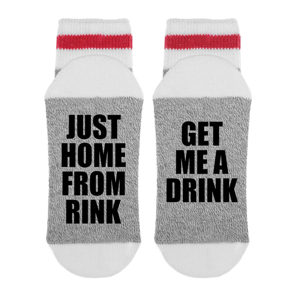 Just Home From The Rink Get Me A Drink Lumberjack Socks - Sock Dirty To Me
