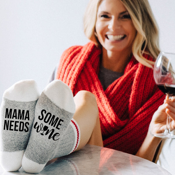 Mama Needs Some Wine Lumberjack Socks - Sock Dirty To Me
