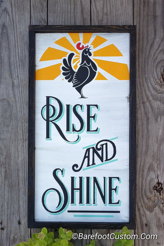 Rise and Shine Rooster, Vintage,  Shabby, Farmhouse Wood sign