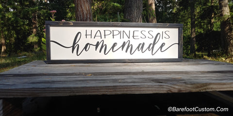 Happiness is Homemade Modern Rustic Farmhouse Cottage Wood sign