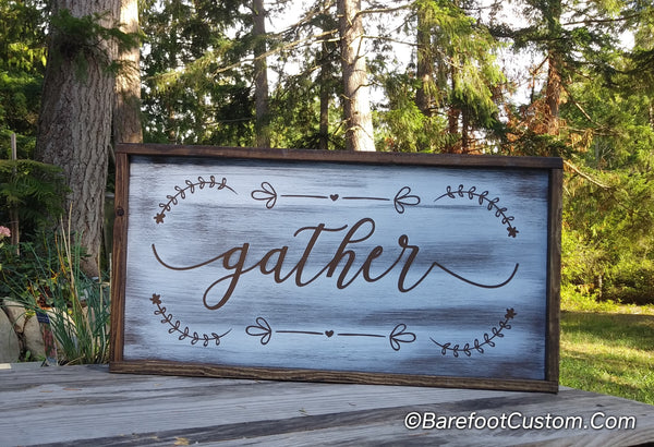 Gather Family friends Modern Rustic Farmhouse Cottage Shabby Wood sign