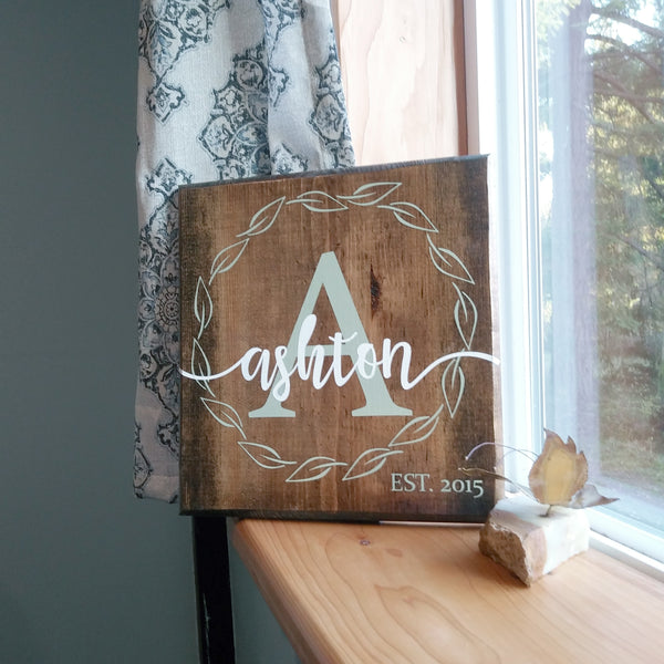 Personalized Last Name Monogram Wood sign
