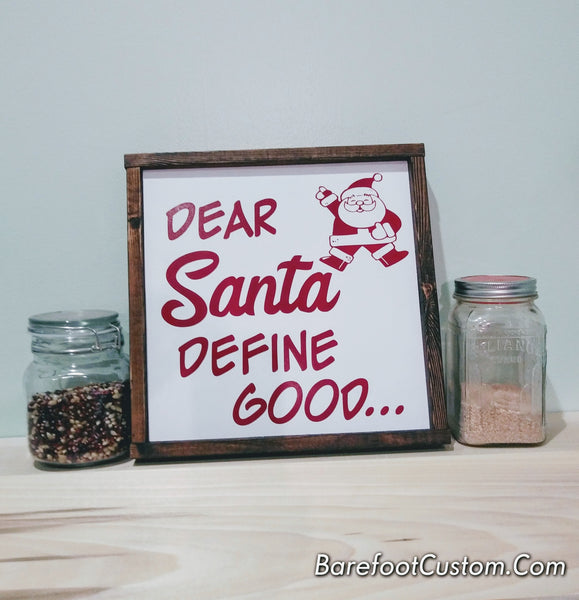 Dear Santa Christmas Modern Rustic Farmhouse Cottage Shabby Wood sign
