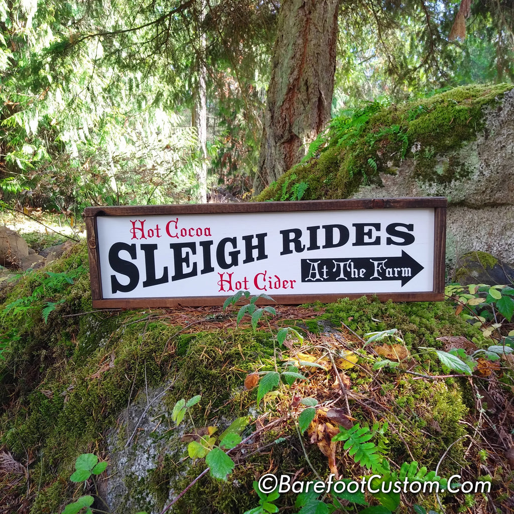 Sleigh Rides Christmas Modern Rustic Farmhouse Cottage Shabby Wood sign