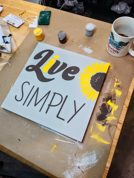 Live Simply Sunflower DIY Wood SIgn Kit