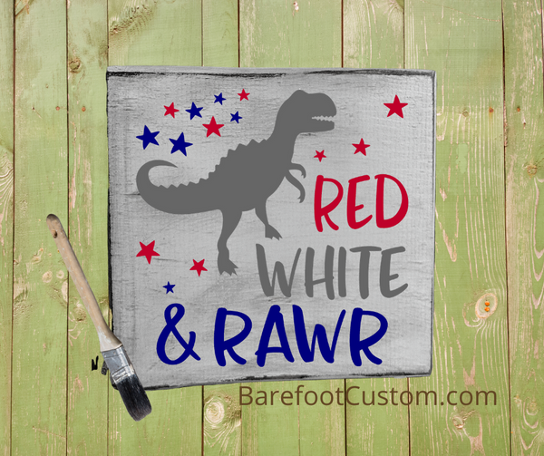 Red White and Rawr Dinosaur USA America Kids and Adult DIY Sign Painting Kit