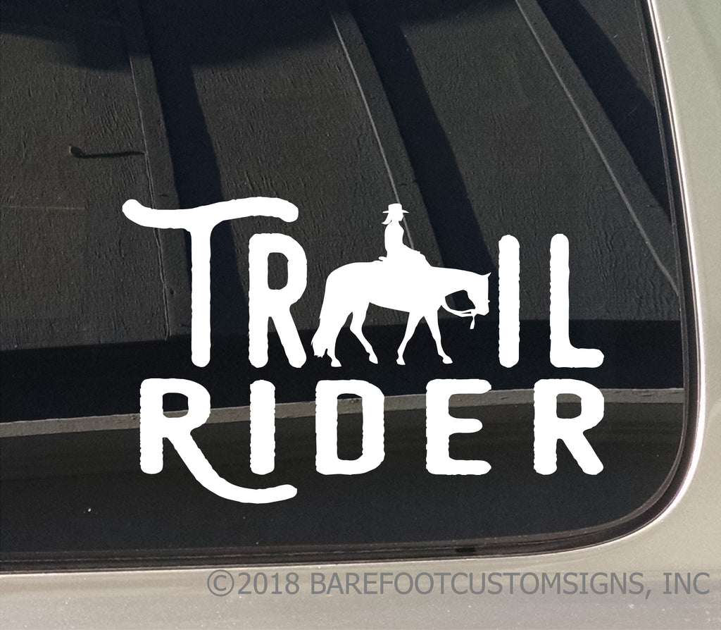Trail Rider Western Female Equestrian Horse Window Car Truck Trailer Sticker Decal