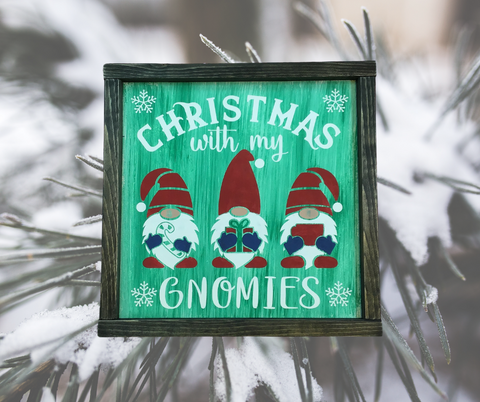 Chirstmas with my Gnomies Painted Farmhouse Sign, Paint Party, Sign Painting Class