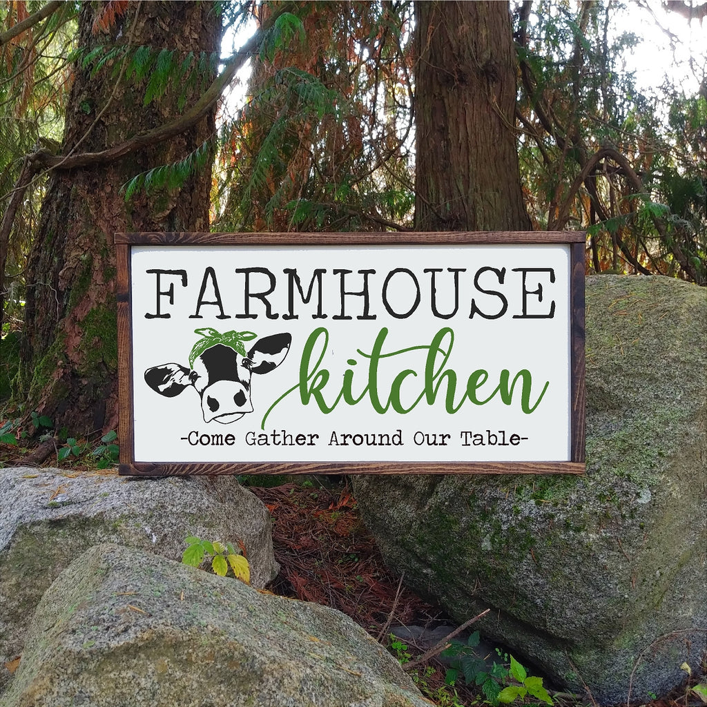 Farmhouse kitchen sign with cow