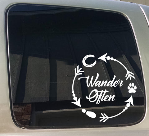 Wander Often Arrow Trail rider hoof paw foot print Hiking window sticker decal