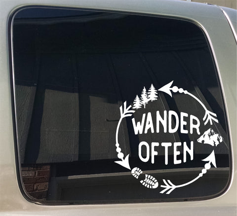 Wander Often Mountain Hiking Window Car Truck Sticker Decal
