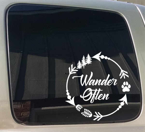 Wander Often Arrow Circle Camping Hiking Dog Paw Window Car Truck Trailer Sticker Decal
