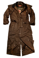 Long Australian Riding Coat, Waterproof Oilcloth Duster Converts to 3/4 Coat - The Walkabout Company