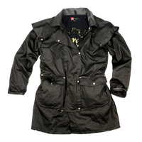 Australian Drover Jacket Mid Calf Iron Bark Oilcloth waterproof. Black Only - The Walkabout Company